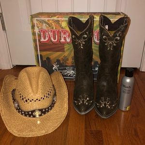 Durango Leather Cowboy Boots and Hat Package
